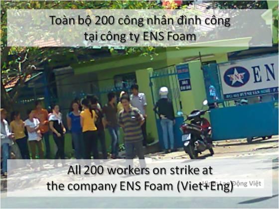 Toàn bộ 200 công nhân đình công tại công ty ENS Foam