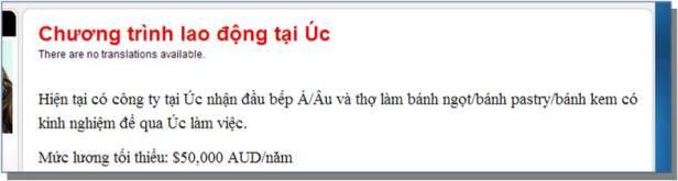 HÌNH minh hoạ: Quảng cáo về Visa 457 của CEPECE, công ty môi giới do Bộ Giáo Dục Đào Tạo CSVN làm chủ. Còn môi giới đề cập trong bản tin này là công ty khác, quảng cáo ở Úc, UBBV xin tạm dấu tên để hội ý với luật sư