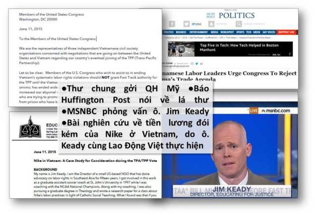 Lao Động Việt lên tiếng với QH Mỹ về TPP